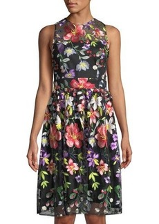 Neiman Marcus Floral-Embroidered Fit-&-Flare Illusion Dress