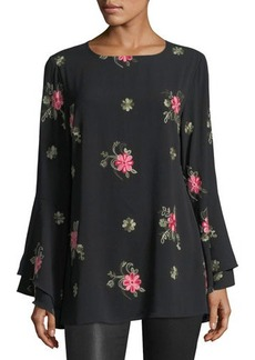 Neiman Marcus Floral-Embroidered Long-Sleeve Blouse