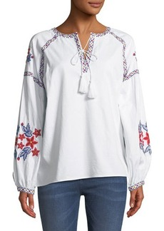 Neiman Marcus Floral Embroidered Peasant Blouse
