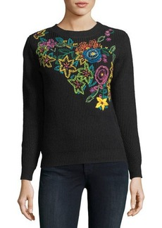 Neiman Marcus Floral-Embroidered Ribbed Sweater