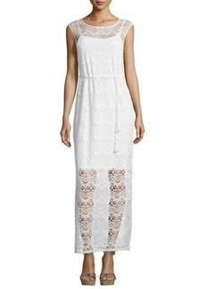 Neiman Marcus Floral-Lace Sleeveless Maxi Dress