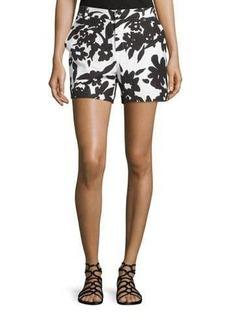 Neiman Marcus Floral Linen-Blend Shorts