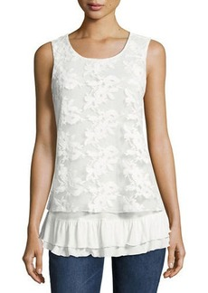Neiman Marcus Floral-Mesh Overlay Tank