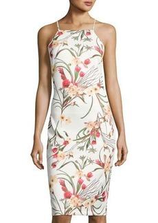 Neiman Marcus Floral-Print Body-Con Scuba Dress