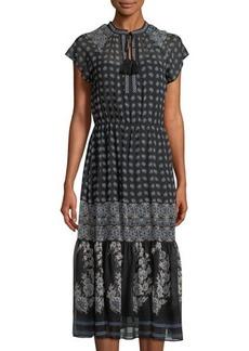 Neiman Marcus Floral-Print Chiffon Tie-Neck Maxi Dress