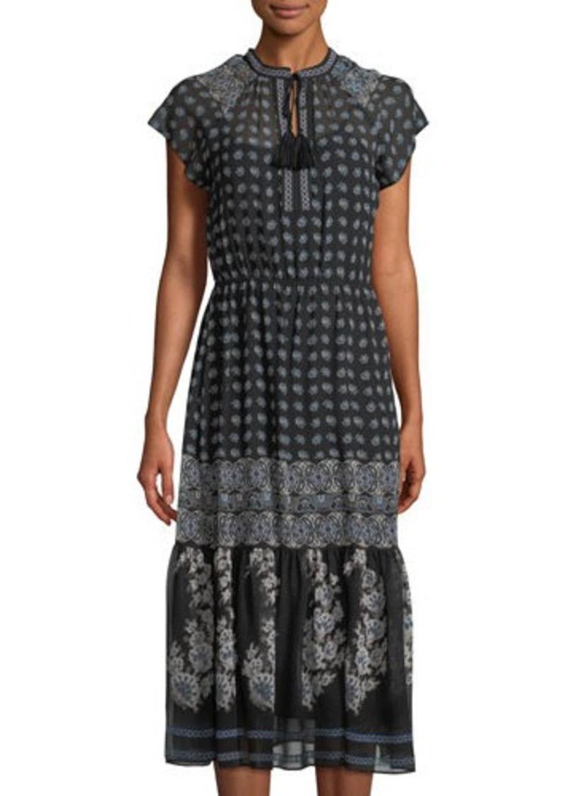cabaab3f Neiman Marcus Neiman Marcus Floral-Print Chiffon Tie-Neck Maxi Dress ...