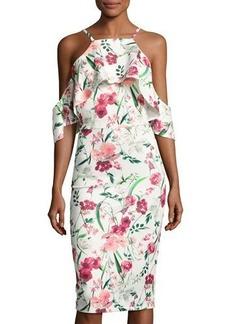 Neiman Marcus Floral-Print Cold-Shoulder Midi Dress