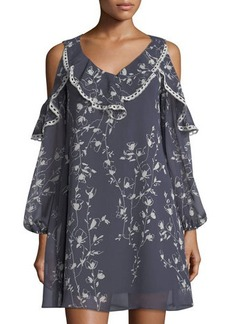 Neiman Marcus Floral-Print Cold-Shoulder Ruffled Dress