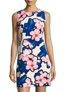 Neiman Marcus Floral-Print Embellished-Neck Shift Dress