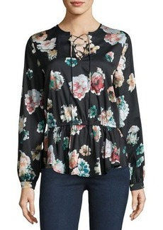Neiman Marcus Floral-Print Lace-Up Blouse