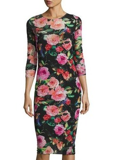 Neiman Marcus Floral-Print Mesh 3/4-Sleeve Dress