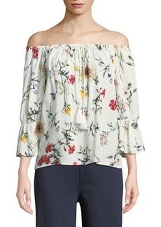 Neiman Marcus Floral-Print Off-the-Shoulder Peasant Blouse