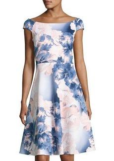Neiman Marcus Floral-Print Scuba A-Line Dress