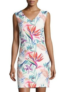 Neiman Marcus Floral-Print Sleeveless Sheath Dress