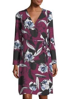 Neiman Marcus Floral-Print Wrap Tie Dress