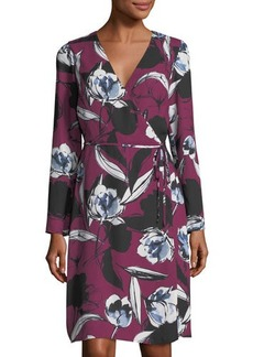 Neiman Marcus Floral-Print Wrap Tie Dress