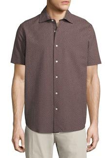Neiman Marcus Floral Seersucker Short-Sleeve Sport Shirt