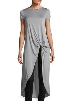 Neiman Marcus Front-Knot Short-Sleeve Tunic