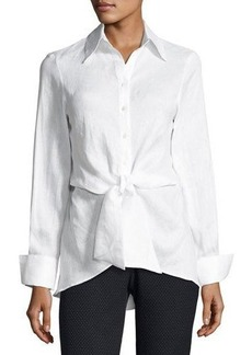 Neiman Marcus Front-Tie Linen Blouse