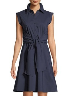 Neiman Marcus Front-Tie Poplin Shirtdress