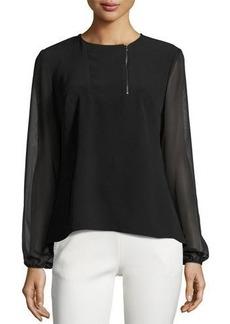 Neiman Marcus Front-Zip Crepe Georgette Blouse