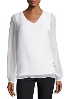Neiman Marcus Gathered Long-Sleeve V-Neck Top