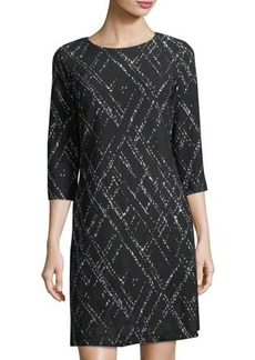 Neiman Marcus Geometric-Print A-Line Dress