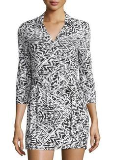 Neiman Marcus Geometric-Print Wrap Short Jumpsuit