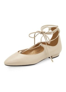 Neiman Marcus Gerry Leather Lace-Up Flat