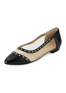 Neiman Marcus Gertrude Studded Mesh Inset Ballerina Flats