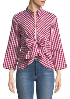 Neiman Marcus Gingham Tie-Front Blouse