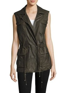 Neiman Marcus Goat Leather Anorak Vest