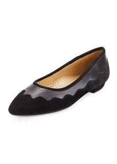 Neiman Marcus Gowyn Suede Scalloped Flat