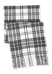 Neiman Marcus Grid Plaid-Print Cashmere Scarf