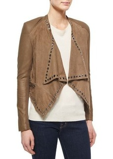 Neiman Marcus Grommet-Detail Draped Leather Jacket