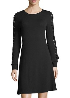 Neiman Marcus Grommet-Sleeve Terry Dress
