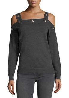 Neiman Marcus Grommet-Trim Cold-Shoulder Sweater