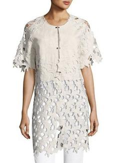 Neiman Marcus Half-Sleeve Lace-Trim Jacket