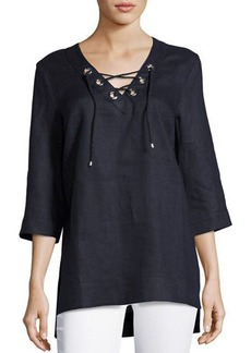 Neiman Marcus Half-Sleeve Lace-Up Linen Top