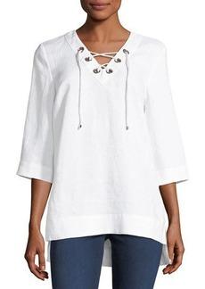 Neiman Marcus Half-Sleeve Lace-Up Linen Top