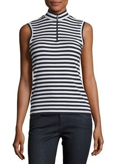 Neiman Marcus Half-Zip Striped Ribbed Top