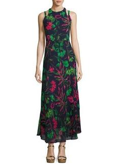Neiman Marcus Halter-Neck Floral-Print Maxi Dress