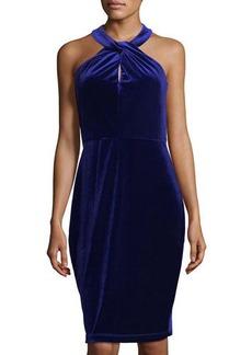 Neiman Marcus Halter-Neck Velvet Sheath Dress
