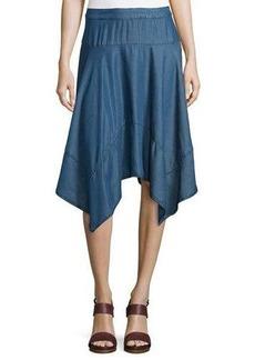 Neiman Marcus Handkerchief-Hem Chambray Skirt