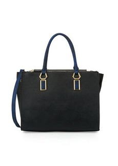 Neiman Marcus Hexagon Faux-Leather Satchel Bag