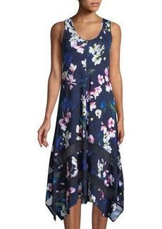 Neiman Marcus Hibiscus-Print Sleeveless Handkerchief Dress