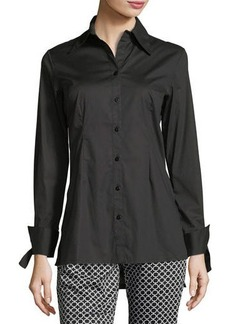 Neiman Marcus High-Low Long-Sleeve Poplin Tunic