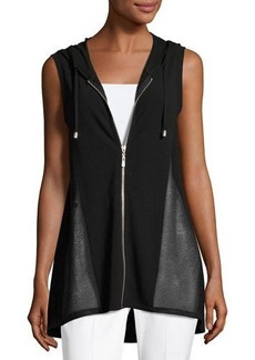 Neiman Marcus High-Low Zip-Front Hooded Vest