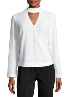 Neiman Marcus High-Neck Crepe Wrap Blouse