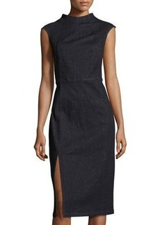 Neiman Marcus High-Neck Denim Sheath Dress